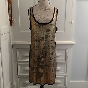 Tory Burch gold and black tank dress Sz M